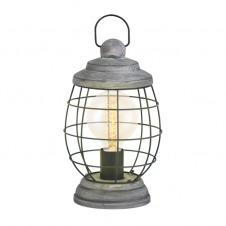 CAGED dark bronzed and steel rustic table lamp