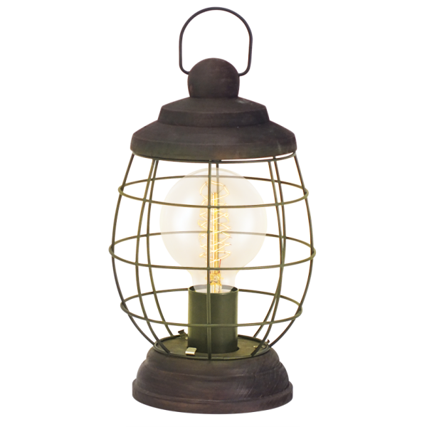 Transparent Coffee Table Uk: Rustic Design Cage Style Table Lamp In Patina Brown Finish