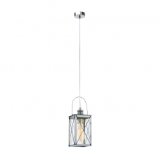 CAGED rustic ceiling pendant lantern in chrome