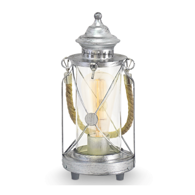 CARGO Rustic Lantern Table Lamp In Antique Silver With Rope Design