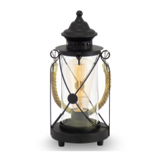 CARGO rustic lantern table lamp in black with rope design