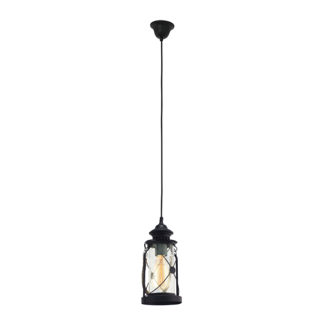 Vintage Collection CARGO rustic nautical style lantern with rope detail (black)