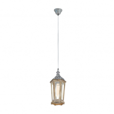 CARGO rustic wood and decorative silver ceiling pendant lantern