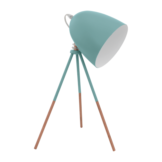 Retro Table Lamp In Mint Blue Coloured Finish Double Insulated