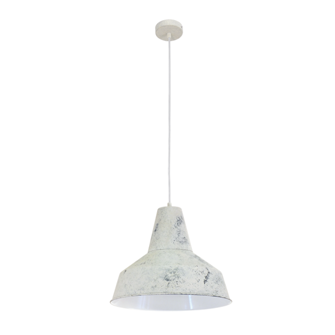 Vintage Collection FACTORY retro style ceiling pendant in a limed white finish