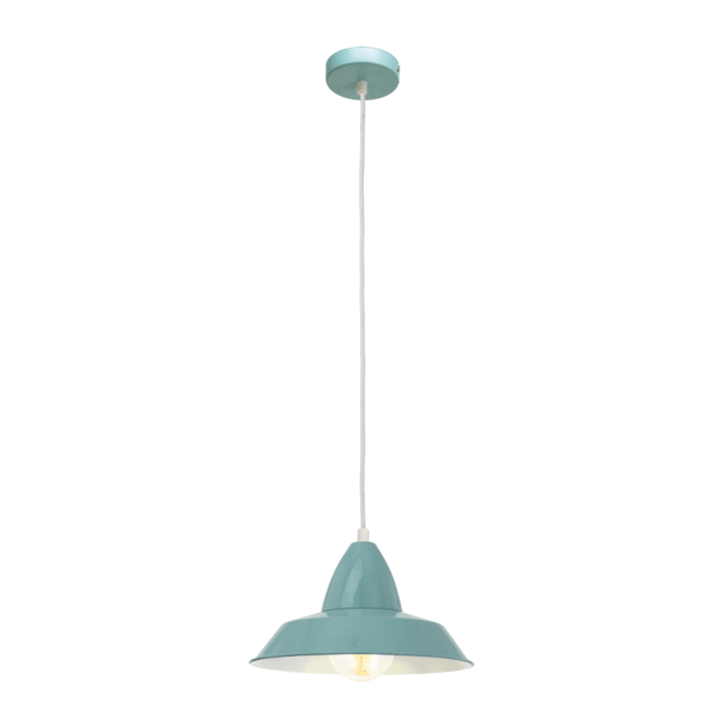Vintage Collection FACTORY retro style ceiling pendant in a mint blue finish