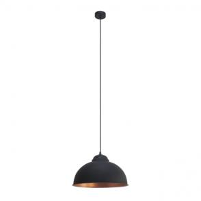 Vintage Collection FACTORY retro style traditional ceiling pendant in black with copper inner