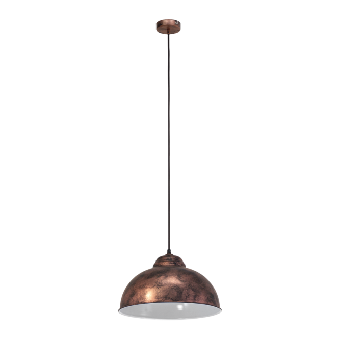 Vintage Collection FACTORY retro style traditional ceiling pendant in copper with white inner