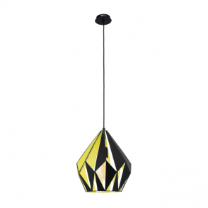Vintage Collection GEOMETRIC contemporary ceiling pendant with black outer and yellow inner