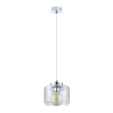 GLASSE clear glass bowl pendant with chrome lamp holder
