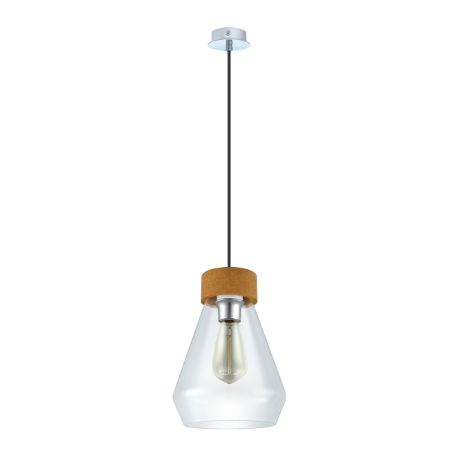 Vintage Collection GLASSE tapered ceiling pendant with chrome & cork detail