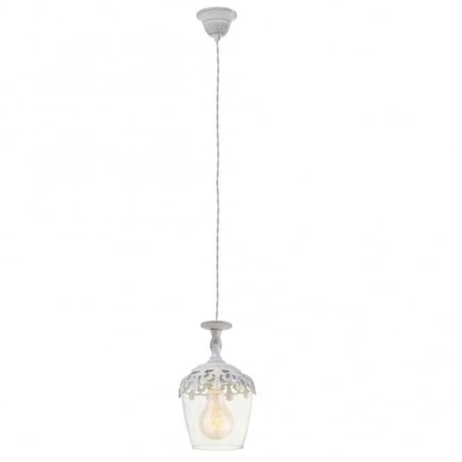 Vintage Collection MARRAKECH decorative patina white ceiling pendant with leaf design
