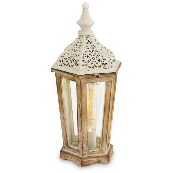 decorative rustic table lamp with wooden frame white detail. Black Bedroom Furniture Sets. Home Design Ideas