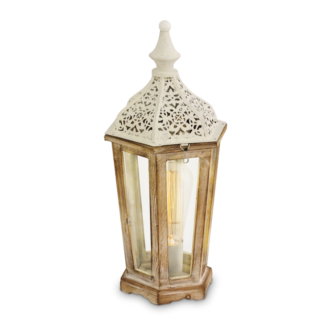 Vintage Collection MARRAKECH decorative rustic wood and patina white table lamp