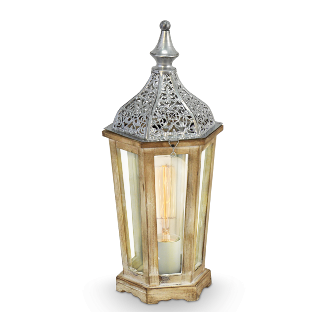MARRAKECH decorative rustic wood and silver table lamp
