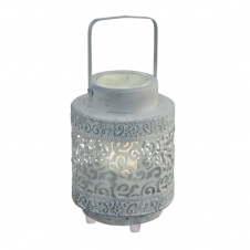 MARRAKECH traditional lantern design table lamp in grey finish