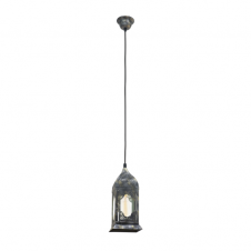 MARRAKECH traditional rustic ceiling pendant in dark antique silver