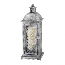 MARRAKECH traditional table lantern in an antique silver finish