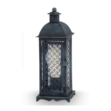 MARRAKECH traditional table lantern in patina green black finish