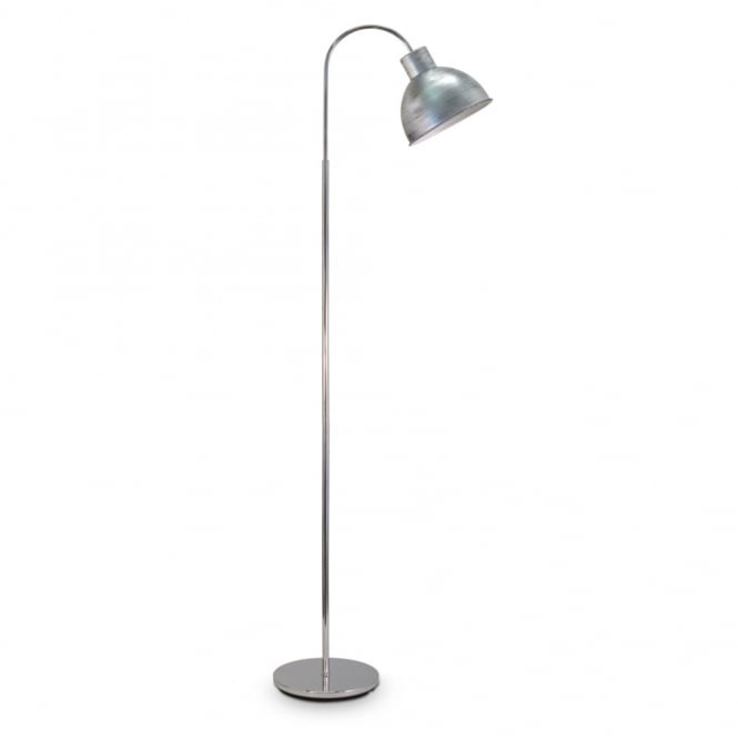 A retro style floor lamp in chrome with antique silver shade class 2 retro floor lamp in polished chrome finish with antique silver shade mozeypictures Gallery