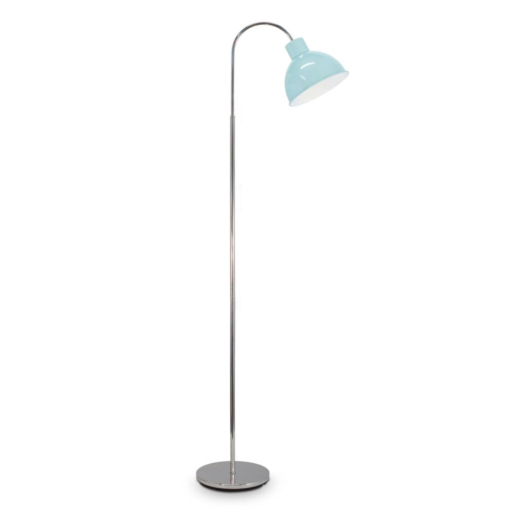A retro style floor lamp in chrome with mint blue shade for Retro floor reading lamp