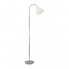 RETRO floor lamp in polished chrome finish with sandy coloured shade