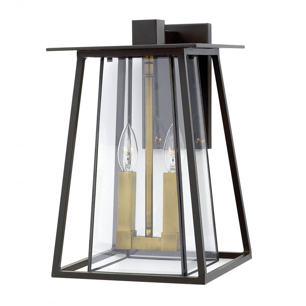 Large Modern Exterior Wall Lantern In Bronze With Clear Bevelled Glass