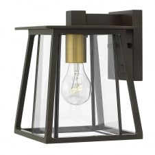 modern exterior wall lantern in bronze with clear glass