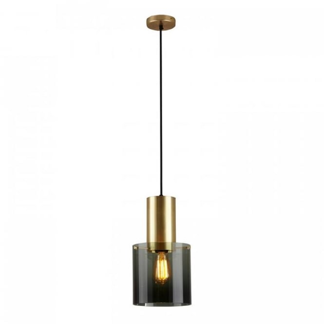 WALTER brass pendant with anthracite glass shade