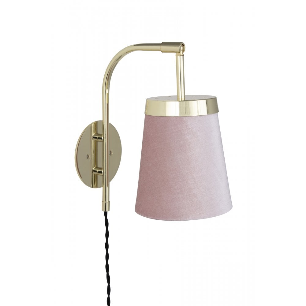 Brass Wall Light With Pink Velvet Shade Lighting Company