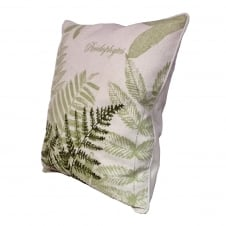 fern embroidery feather cushion