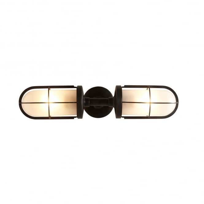WEATHERPROOF ship's double well glass wall light in weathered brass (frosted glass)