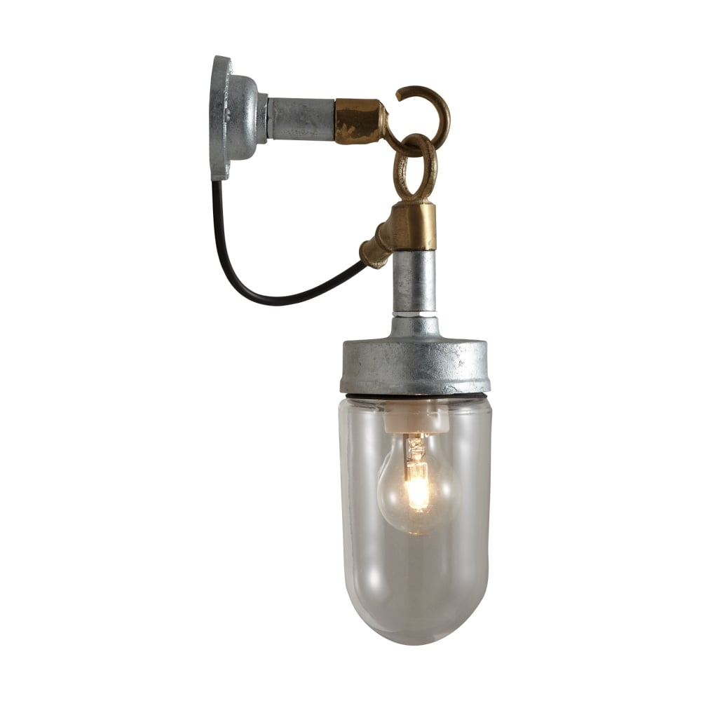 Industrial ip44 rated galvanised wall light with clear glass shade well glass wall light with galvanised finish aloadofball Images