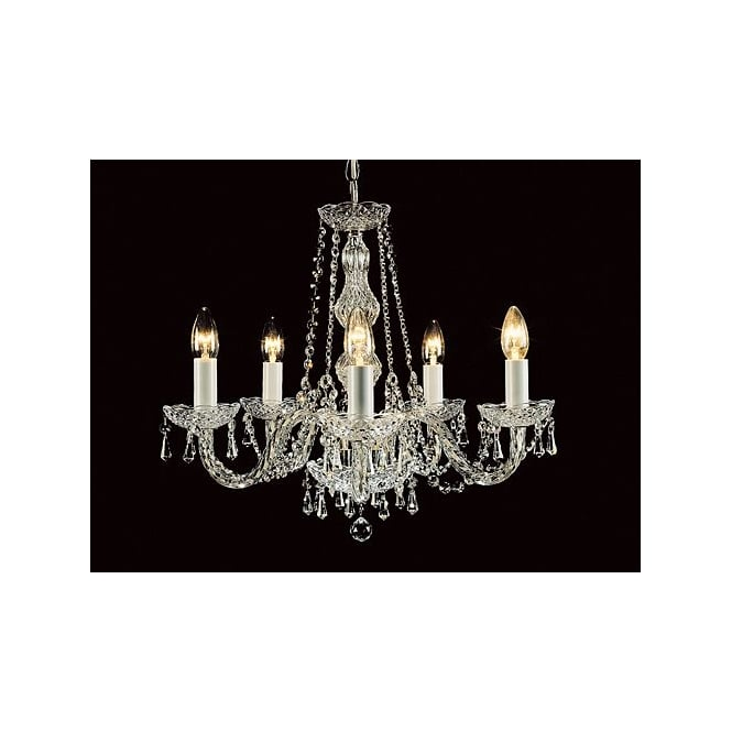 Wellington Collection MODRA decorative 5 light crystal chandelier