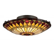 Tiffany flush fit ceiling light in red and cream