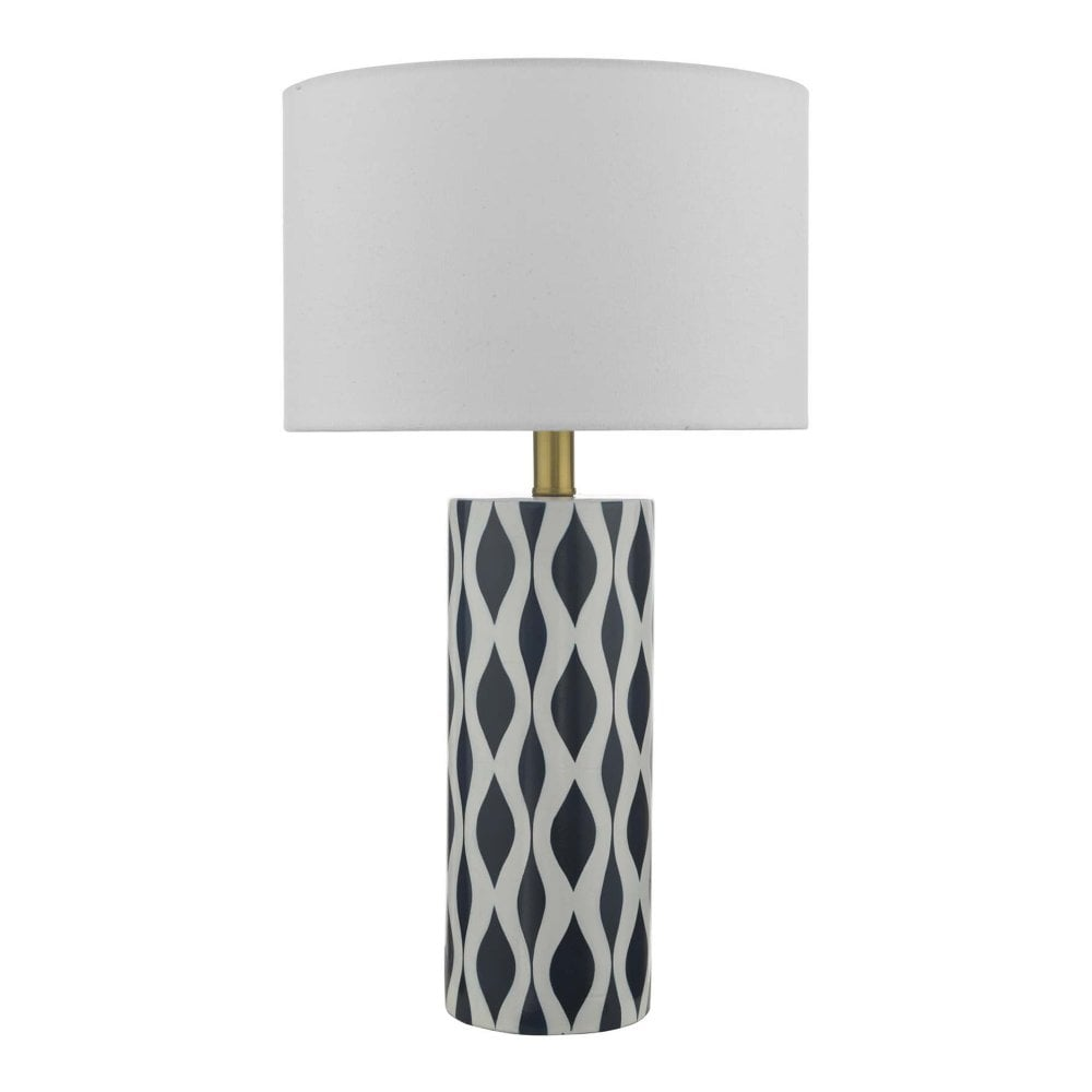 Weylin Ceramic Table Lamp Navy Blue And White Waves With Shade