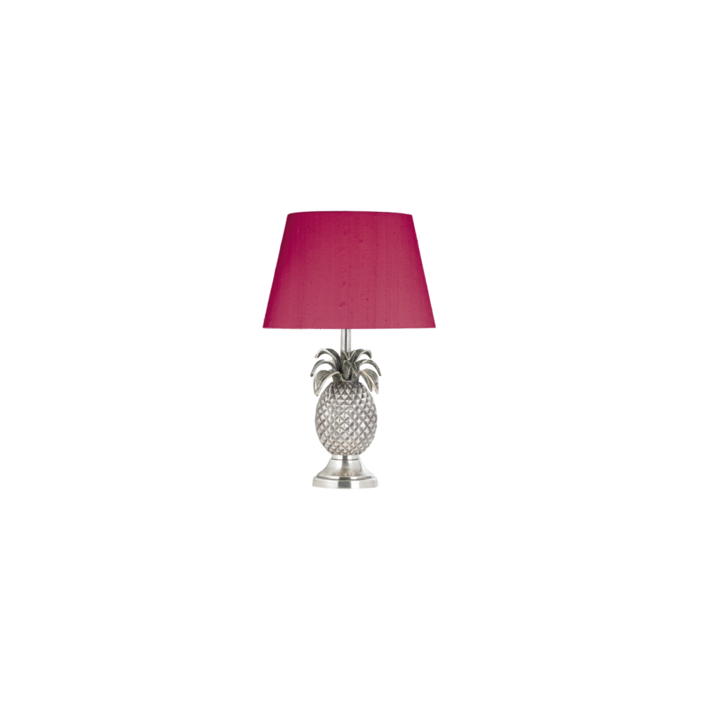 Silver Pineapple Table Lamp With Hot Pink Silk Shade