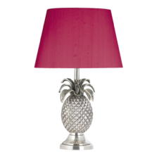 PINEAPPLE pewter table lamp with hot pink silk shade