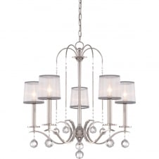 decorative 5 light chandelier in imperial silver with organza shades