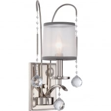 decorative single wall light in imperial silver with organza shade