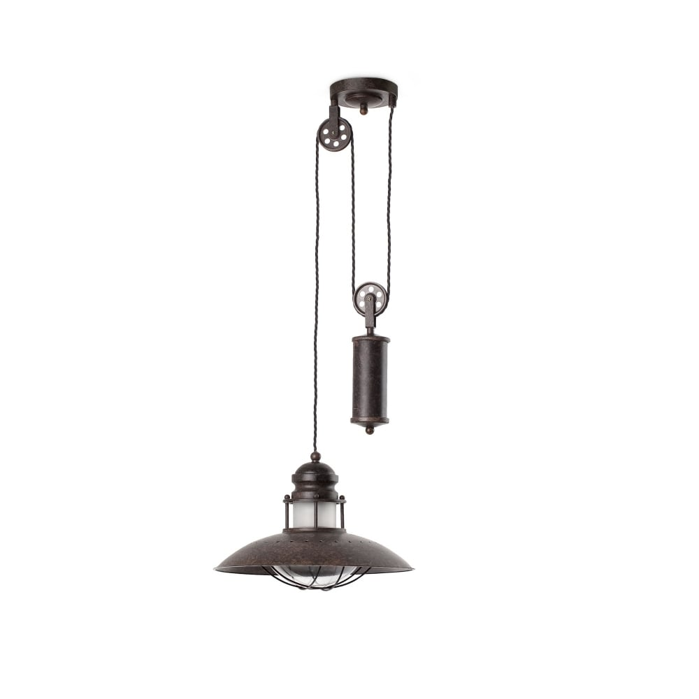 Industrial Rise And Fall Pendant Light: Rustic Industrial Rise And Fall Ceiling Pendant