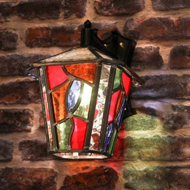 Decorative multi coloured stain glass outdoor wall lantern decorative multi coloured outdoor wall lantern aloadofball Image collections