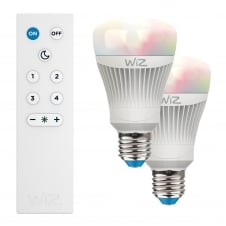 E27 LED 11.5 watt smart bulb twin pack with remote