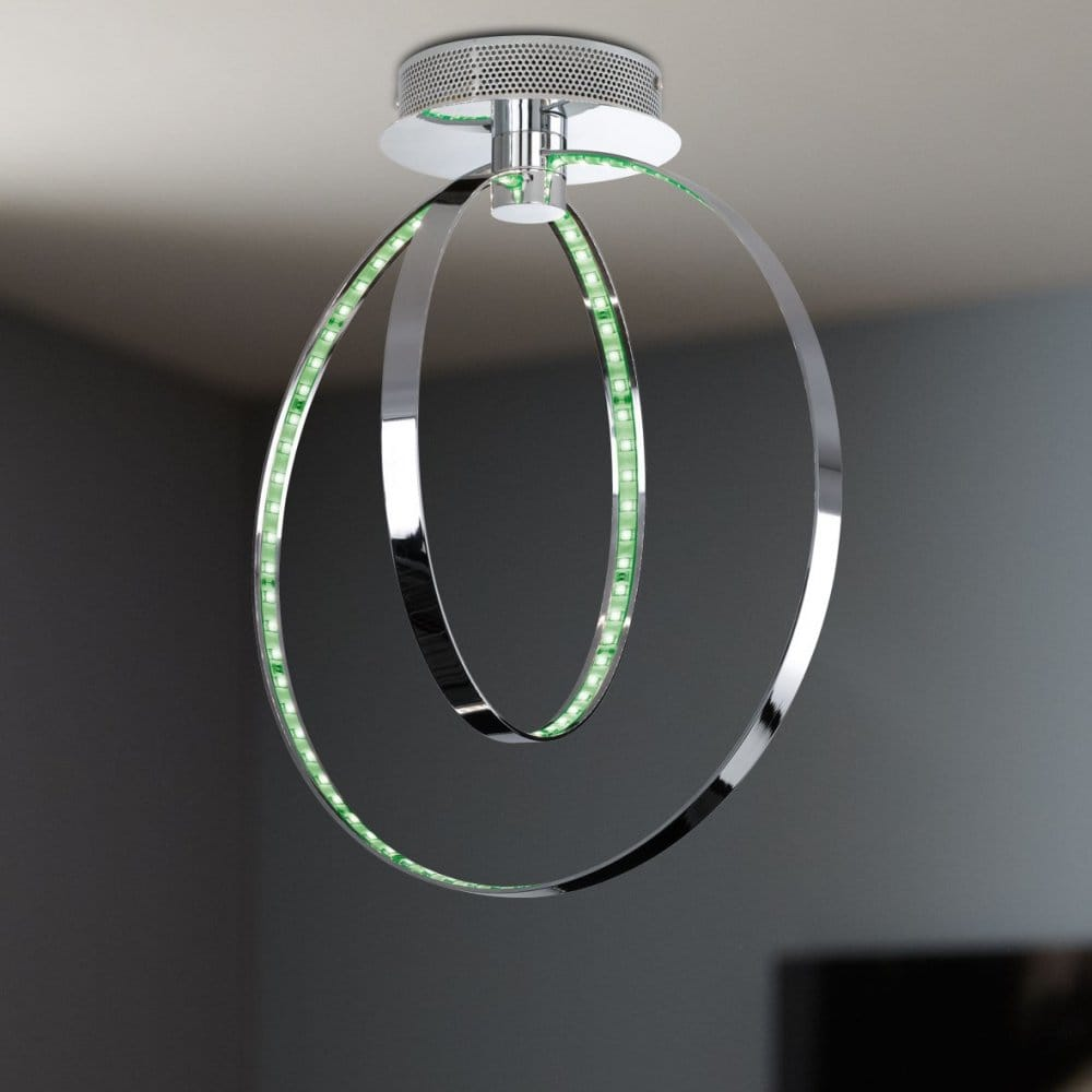 Modern Chrome Two Ring Led Ceiling Light Colour Changing
