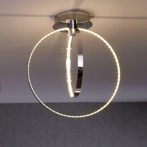 Ceiling Light Led Ring : Modern chrome two ring led ceiling light low energy