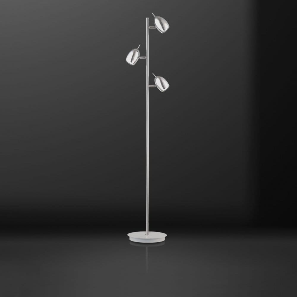 Modern Led Chrome Floor Lamp With 3 Spot Lights Switched