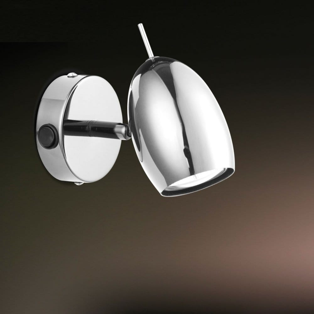 Modern Chrome LED Single Wall Spot Light - Switched, Low Energy Light.