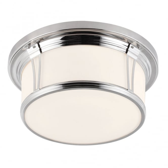 Woodward Flush Bathroom Ceiling Light Polished Nickel And White Glass