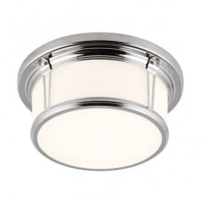 classic flush bathroom ceiling light in polished nickel with opal glass shade