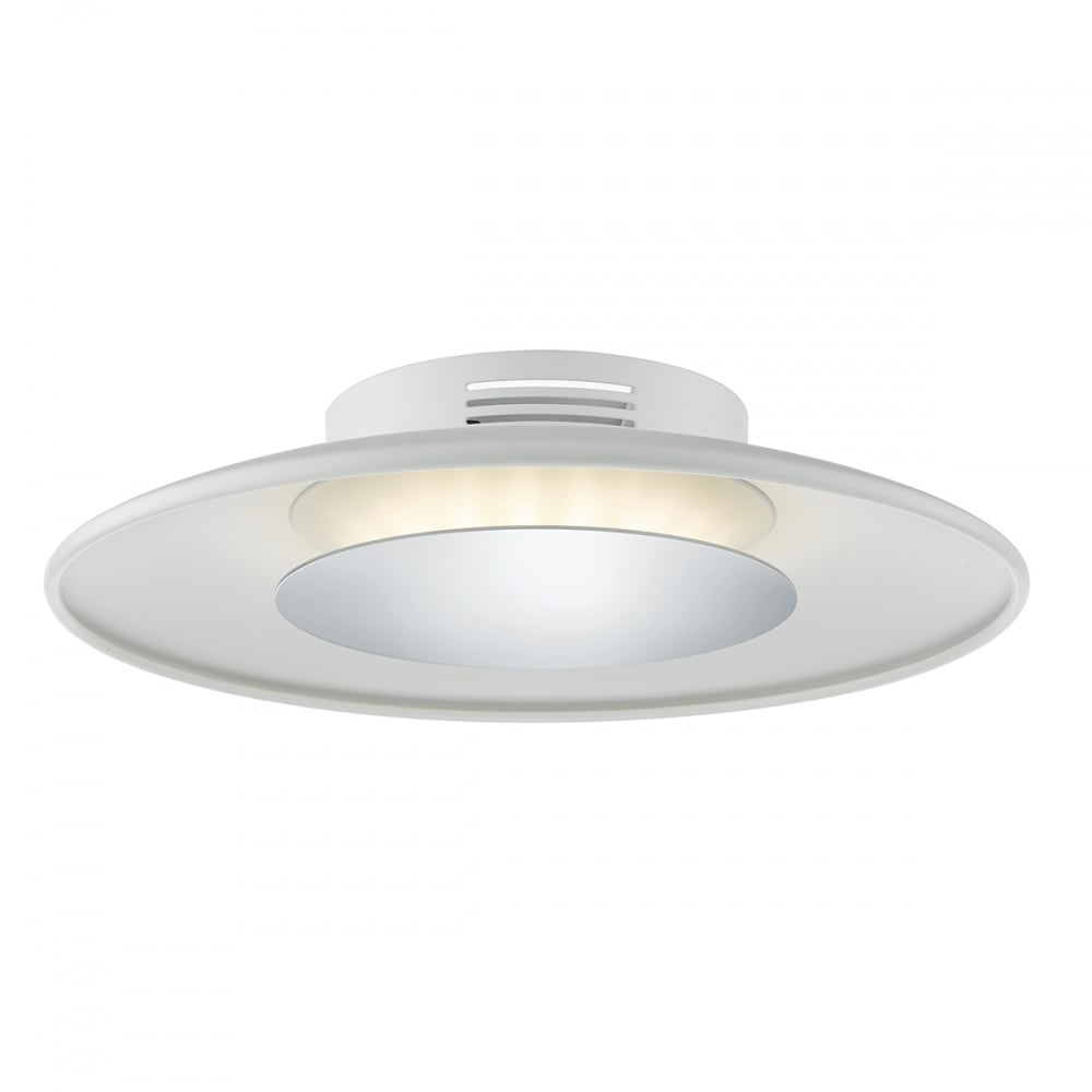 Contemporary Flush LED Ceiling Light In Chrome And White